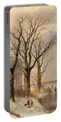 Winter Landscape With Faggot Gatherers Conversing On A Frozen Lake Portable Battery Charger