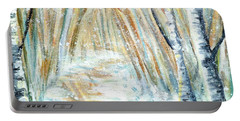 Portable Battery Charger featuring the painting Winter by Shana Rowe Jackson