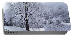 Winter Tree And Fence In The Valley Portable Battery Charger