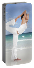 Woman Doing Yoga On The Beach Portable Battery Charger