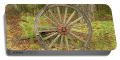 Portable Battery Charger featuring the photograph Wood Spoked Wheel by Sherman Perry