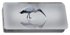 Portable Battery Charger featuring the photograph Wood Stork Eating by Dan Friend