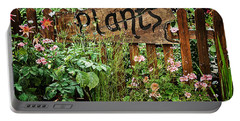 Wooden Plant Sign In Flowers Portable Battery Charger