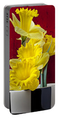 Yellow Daffodils In Checkered Vase Portable Battery Charger