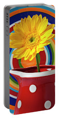 Yellow Daisy In Red Pitcher Portable Battery Charger