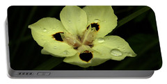 Yellow Iris With Rain Drops Portable Battery Charger