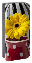 Yellow Mum In Pitcher  Portable Battery Charger