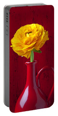 Yellow Ranunculus In Red Pitcher Portable Battery Charger