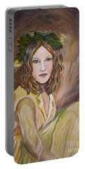 Portable Battery Charger featuring the painting Yellow Rose by Julie Brugh Riffey