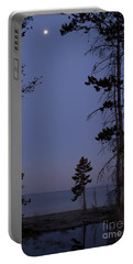 Portable Battery Charger featuring the photograph Yellowstone Lake And Moon by J L Woody Wooden