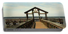 Yorktown Pier Portable Battery Charger by Karen Harrison