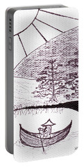Zen Sumi Asian Lake Fisherman Black Ink On White Canvas Portable Battery Charger