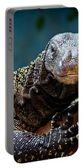 Portable Battery Charger featuring the photograph  A Crocodile Monitor Portrait by Lana Trussell