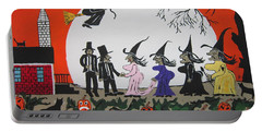 Portable Battery Charger featuring the painting  A Halloween Wedding by Jeffrey Koss