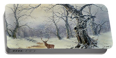 A Stag In A Wooded Landscape  Portable Battery Charger