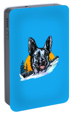 Portable Battery Charger featuring the drawing  Alsatian by Andrzej Szczerski