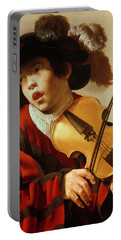 Boy Playing Stringed Instrument And Singing Portable Battery Charger
