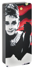 - Breakfast At Tiffannys -  Portable Battery Charger by Luis Ludzska