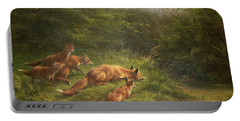 Foxes Waiting For The Prey   Portable Battery Charger by Carl Friedrich Deiker