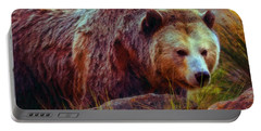 Grizzly Bear In Rocks Portable Battery Charger