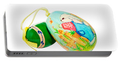 Portable Battery Charger featuring the photograph  Hand Painted Easter Eggs by Susan Leggett