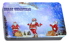 Portable Battery Charger featuring the painting  Merry Christmas To My Friends In The Faa by Andrzej Szczerski