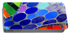 Mosaic Abstract Of The Blue Green Red Orange Stones Portable Battery Charger