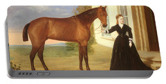 Portrait Of A Lady With Her Horse Portable Battery Charger
