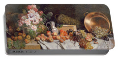 Still Life With Flowers And Fruit On A Table Portable Battery Charger