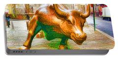 The Landmark Charging Bull In Lower Manhattan  Portable Battery Charger