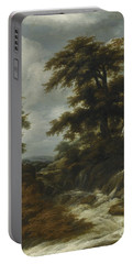 Wooded Landscape With Waterfall Portable Battery Charger by Circle of Jacob Isaacsz van Ruisdael