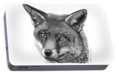 Portable Battery Charger featuring the drawing 044 Vixie The Fox by Abbey Noelle