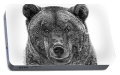Portable Battery Charger featuring the drawing 045 Papa Bear by Abbey Noelle