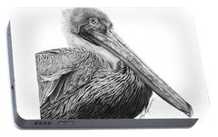 Portable Battery Charger featuring the drawing 047 - Sinbad The Pelican by Abbey Noelle