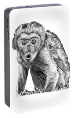 Portable Battery Charger featuring the drawing 057 Madhula The Monkey by Abbey Noelle