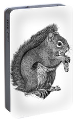 Portable Battery Charger featuring the drawing 058 Sweeney The Squirrel by Abbey Noelle