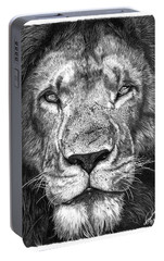 Portable Battery Charger featuring the drawing 059 - Lorien The Lion by Abbey Noelle