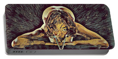 0756s-zac Nude Woman With Amulet On Tall Pedestal  Portable Battery Charger