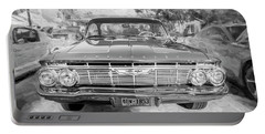 Portable Battery Charger featuring the photograph 1961 Chevrolet Impala Ss Bw by Rich Franco