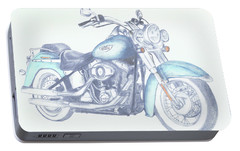 Portable Battery Charger featuring the drawing 2015 Softail by Terry Frederick
