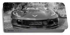 Portable Battery Charger featuring the photograph 2017 Chevrolet Corvette Gran Sport Bw by Rich Franco