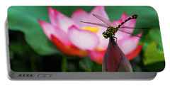 A Dragonfly On Lotus Flower Portable Battery Charger