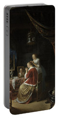 Portable Battery Charger featuring the painting A Young Woman At Her Toilet by Gerard Dou