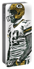 Aaron Rodgers Green Bay Packers Pixel Art 5 Portable Battery Charger by Joe Hamilton