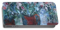 Portable Battery Charger featuring the painting Abstract Flowers by Betty Pieper