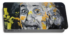 Portable Battery Charger featuring the painting Albert Einstein by Richard Day