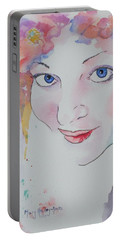 Portable Battery Charger featuring the painting Alisha by Mary Haley-Rocks