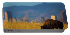 American Bison And Denver Skyline Portable Battery Charger