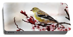 American Goldfinch In Spring Portable Battery Charger by Trina Ansel