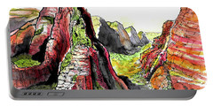 Portable Battery Charger featuring the painting Angels Landing-zion by Terry Banderas